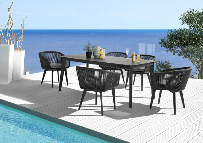 Diva outdoor table 2.2x0.9m table shown with matching Diva outdoor dining chairs