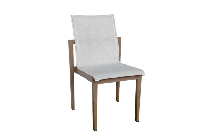 The Skaal outdoor side chair by Les Jardins has a refined, understated elegance in a very functional design, with great comfort.