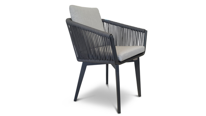 front/side view of Diva outdoor dining arm chair