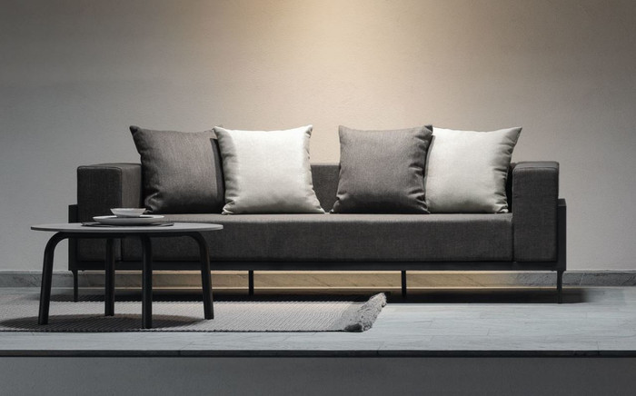 Cleo outdoor sofa shown with optional Cleo 75cm concrete top coffee table