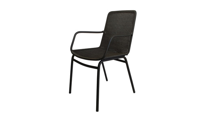 Angled view of Felix outdoor dining arm chair in lava