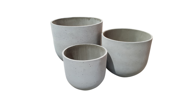Lime lightweight Medium concrete planter pots - Large, medium and small