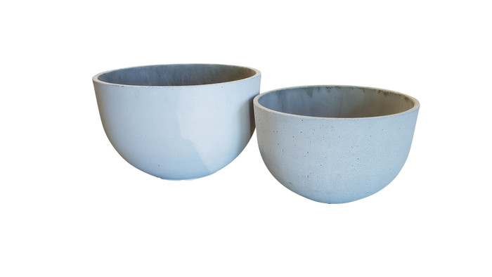 Lime lightweight low concrete planter pots - Large and medium