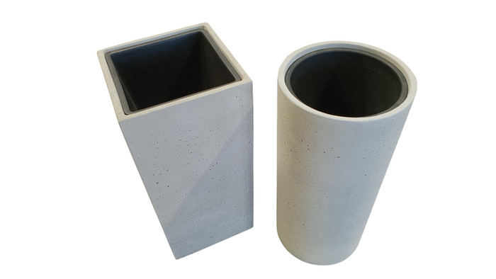 Lime lightweight concrete planter - High - Round with plastic pot. Also shown with square version.