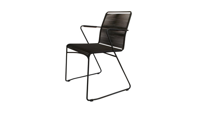 Angle view of James dining arm chair in outdoor rope