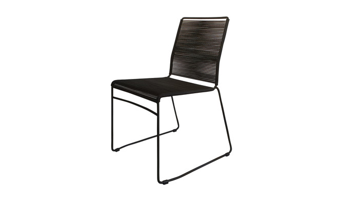 Angle view of James outdoor dining side chair in Lava Rope