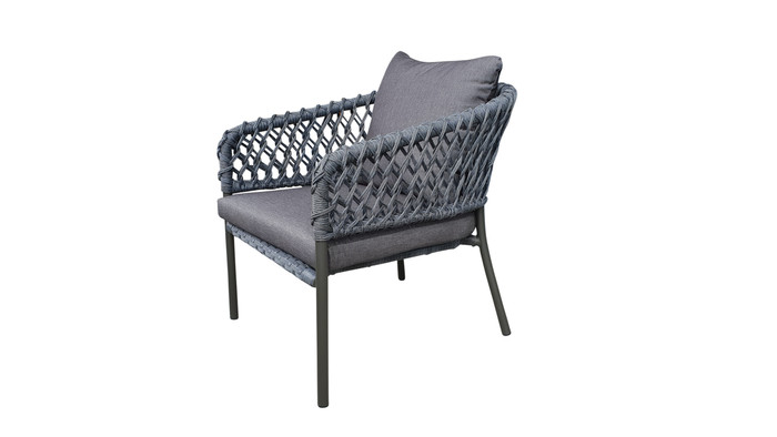 Angle view of Cancun Outdoor Rope-effect Cord And Aluminium Armchair