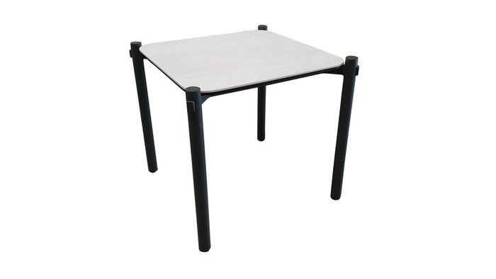 Angle view of Cancun ceramic top outdoor aluminium side table
