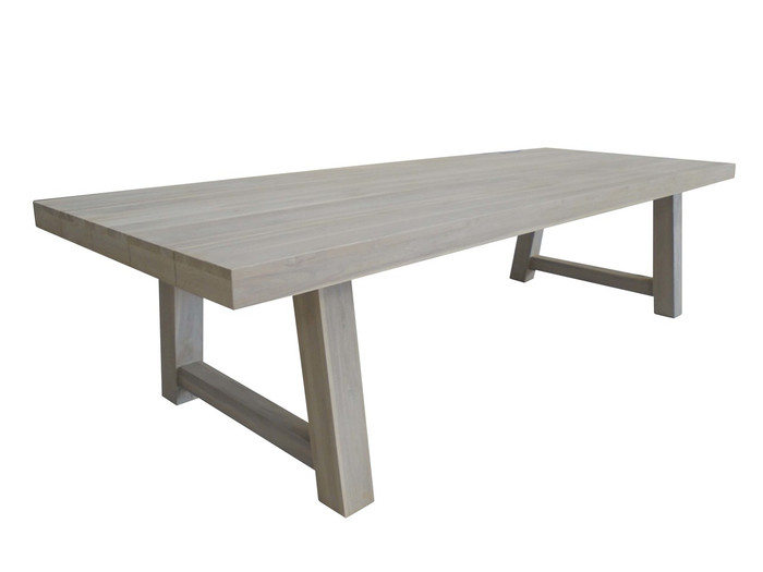 Block table 3.0x1.1m in aged teak Antique finish, as per Sale Listing.