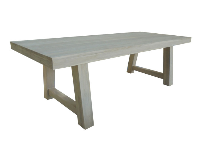 Representative image of Antique finish of Block table 195x95. Actual table size shown is 240x100.