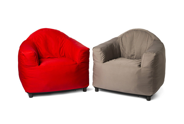 picture shows a red club chair and a taupe club chair