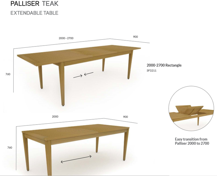 Teak Extendable Table 2000-2700 Rectangle