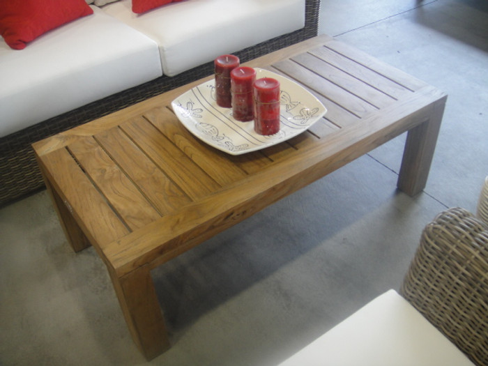 Aged teak outdoor coffee table
