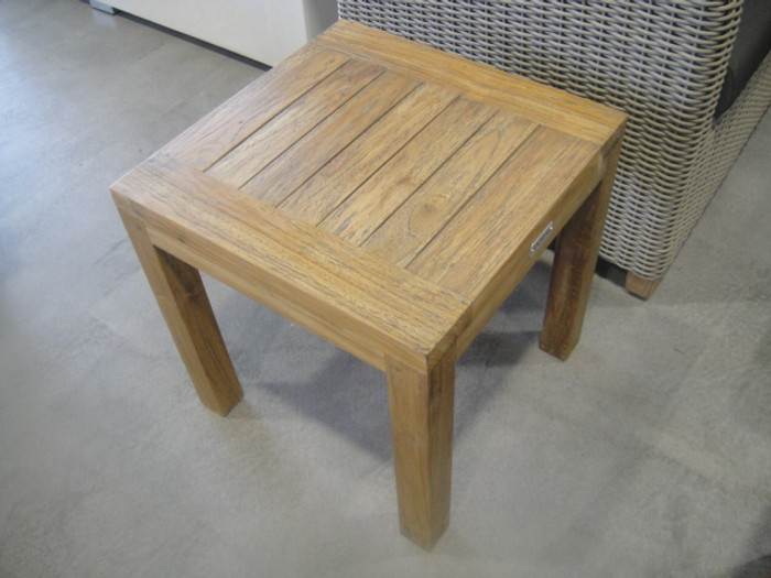 Aged teak outdoor side table