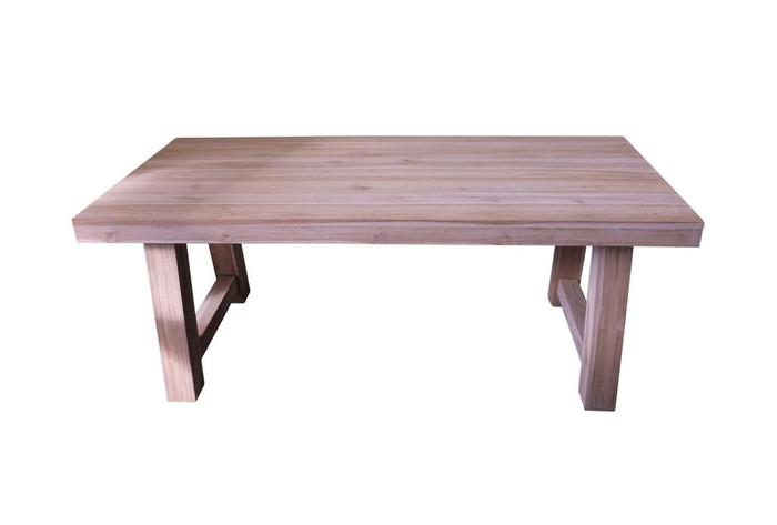 Block aged teak outdoor table 195 x 95