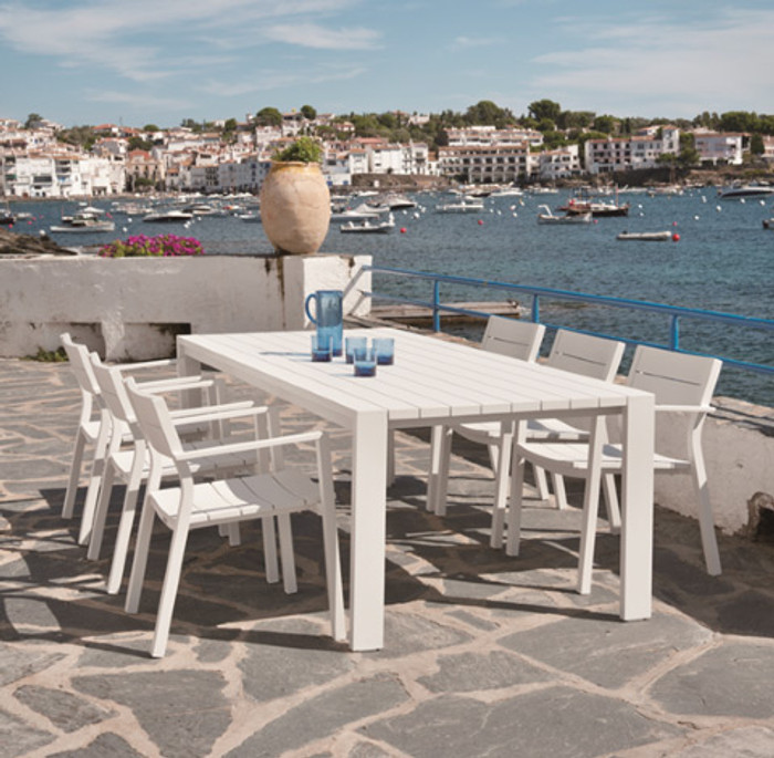 Miami outdoor dining table 220x104 aluminium WHITE