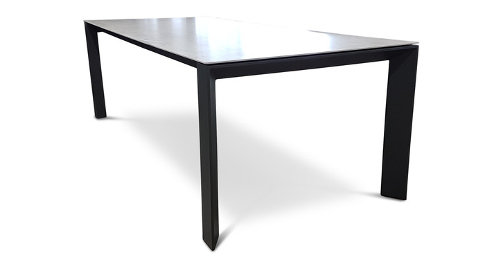 charcoal frame with fusion baton ceramic top. Also available with white frame and timber ice top (see Neverland table)