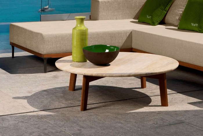 Cleo outdoor coffee table with teak wood frame and travertine marble top by Talenti : 2 Sizes, staring from :