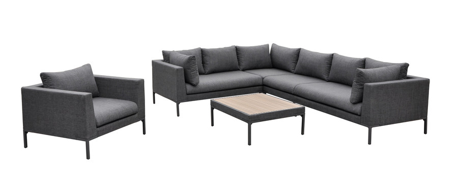 Full set showing arm chair, coffee table, left and right arm sofa, single sofa and corner sofa