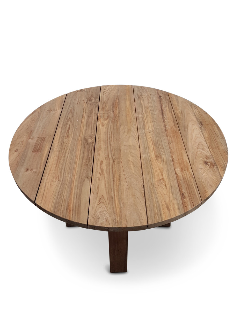 Logan Aged Teak Outdoor Table 90cm dia x 77H