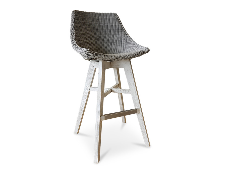 Obi Outdoor Rattan, Synthetic Wicker Bar Stool With Teak Legs