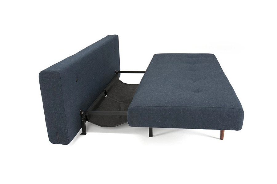 The Recast sofa bed has plastic gliders on the underside of the seat that slide along a metal base frame to create space on the frame for the backrest to drop down and form a double bed.
