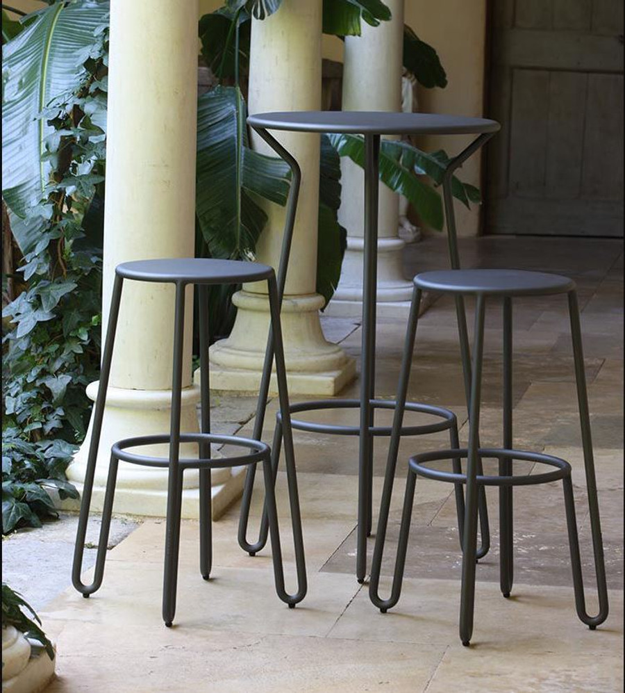 Another picture of Huggy bar set including Huggy Bar table and Huggy bar stools 75cm high (available separately)