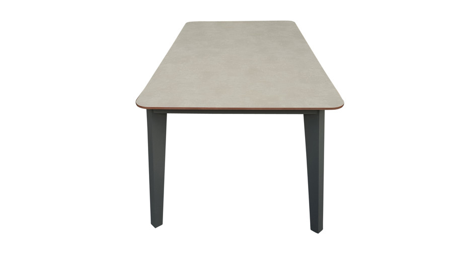 End view of Diva outdoor table. Aluminium frame with European HPL top. Simulated concrete look. This picture shows 185x96cm table