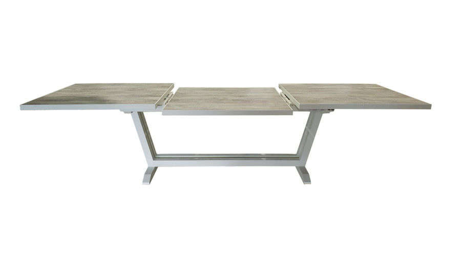 Amaka table in white showing drop down extension leaf