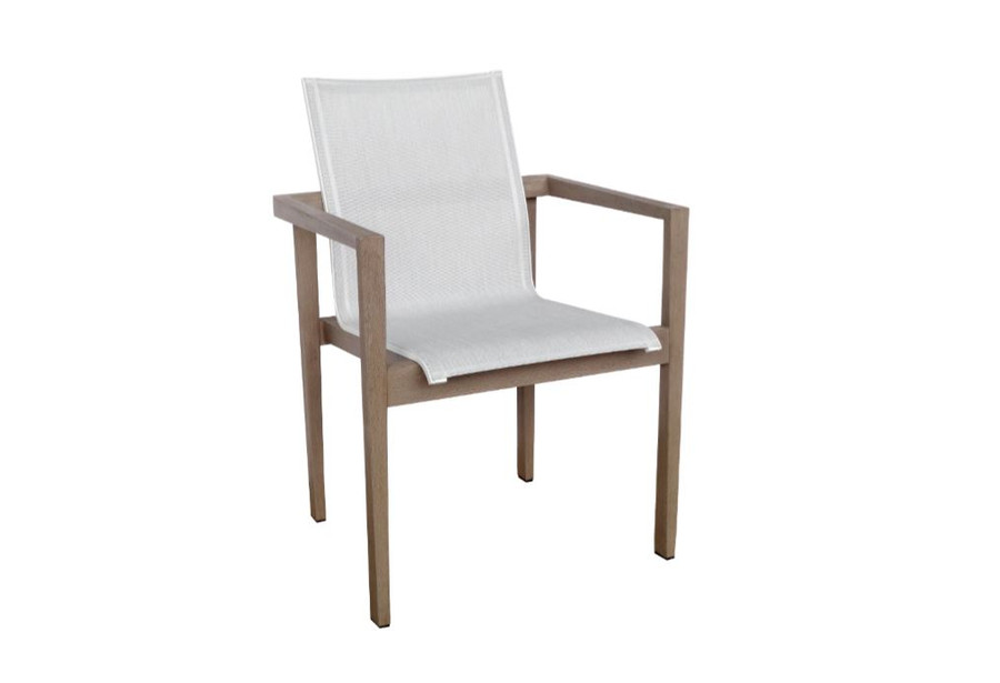 Les Jardins teak outdoor side chair finished in Duratek. Seat is premium Batyline Eden mesh.