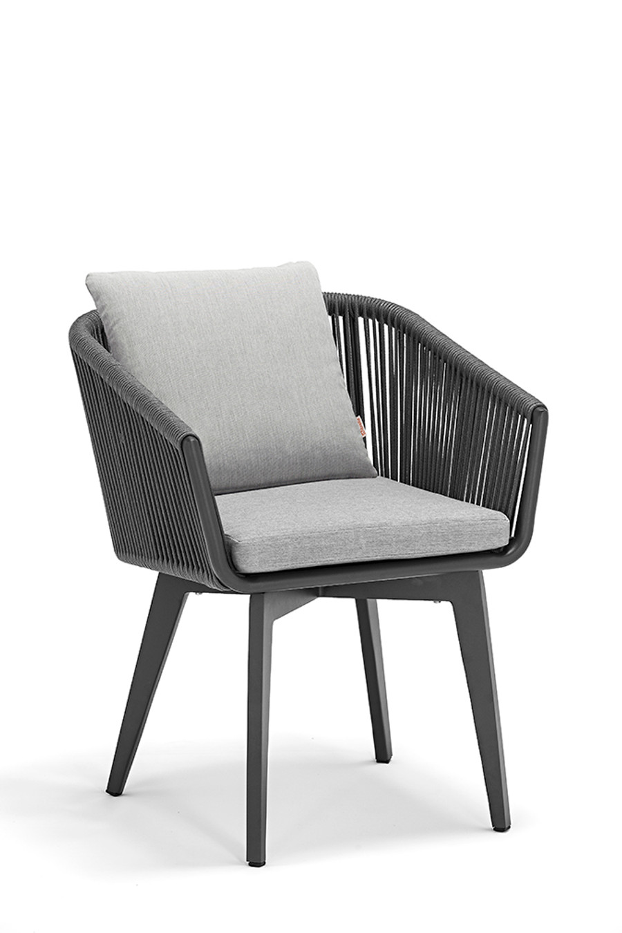 Diva outdoor dining arm chair with aluminium frame, rope and sunbrella cushions