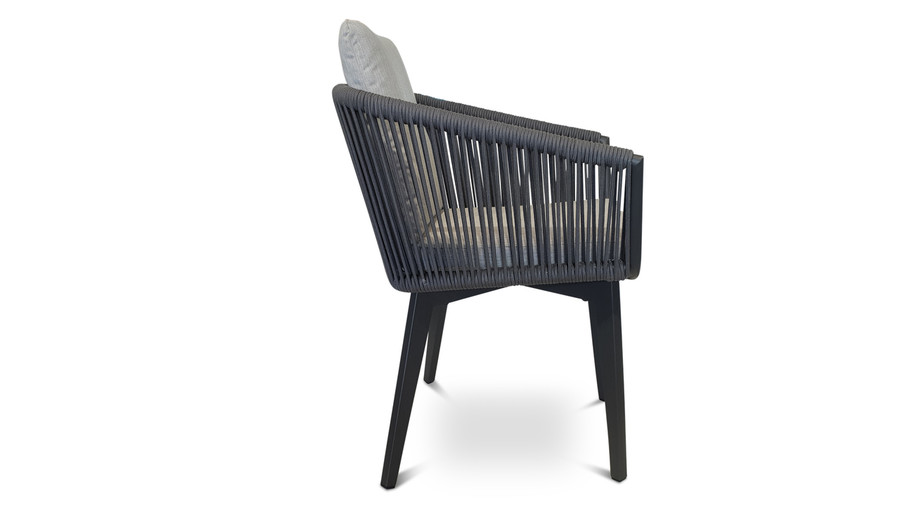 side view of Diva outdoor dining arm chair