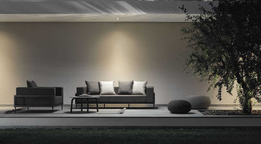 Complete set of Cleo outdoor sofa, Cleo outdoor arm chair and Cleo 75cm concrete top coffee table