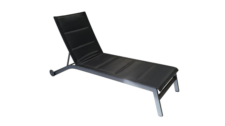 Boston sun lounger in black, with backrest in highest position