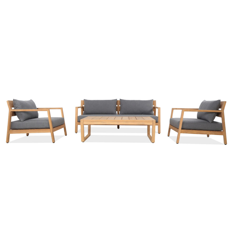 Complete Kisbee outdoor lounge set including arm chair, sofa and coffee table