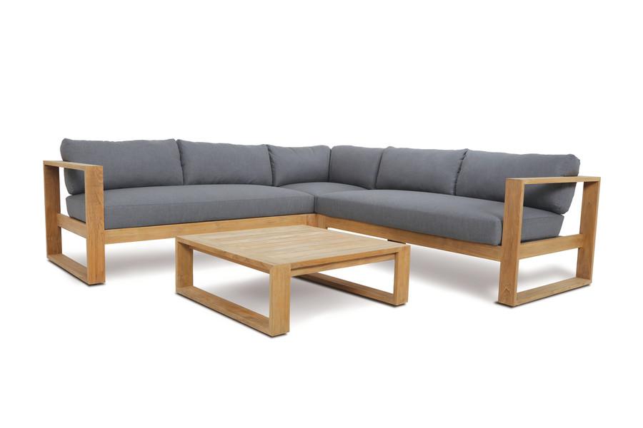 Devon Milford outdoor teak corner sofa set, including left arm, right arm and corner module.