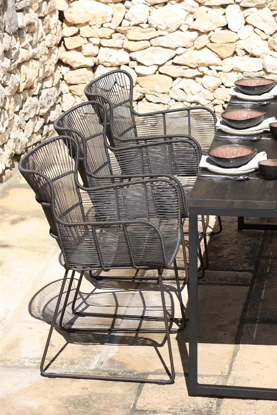 Bunga outdoor dining arm chair - lava or white
