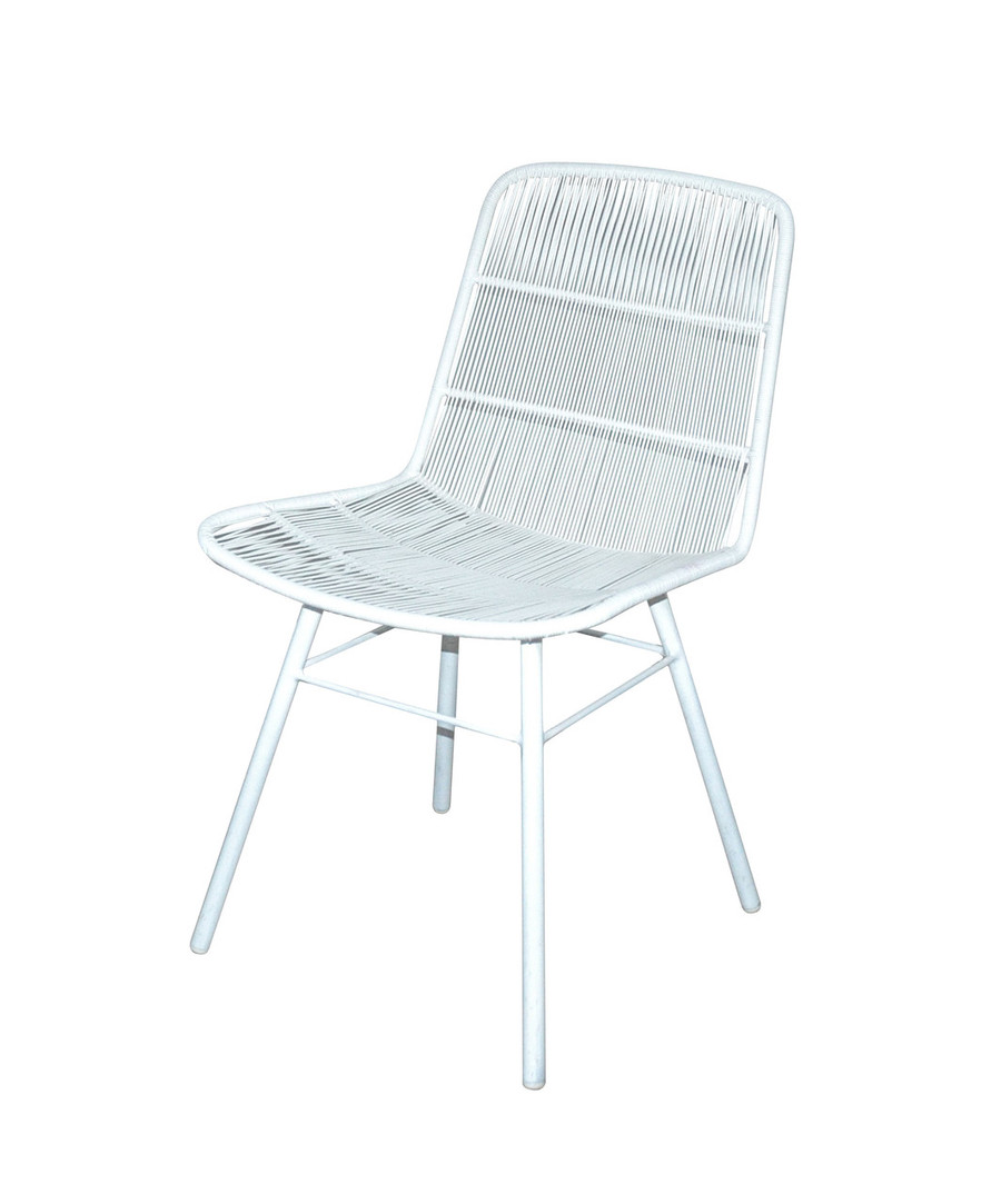 Angled view of Rose outdoor dining side chair in stone white