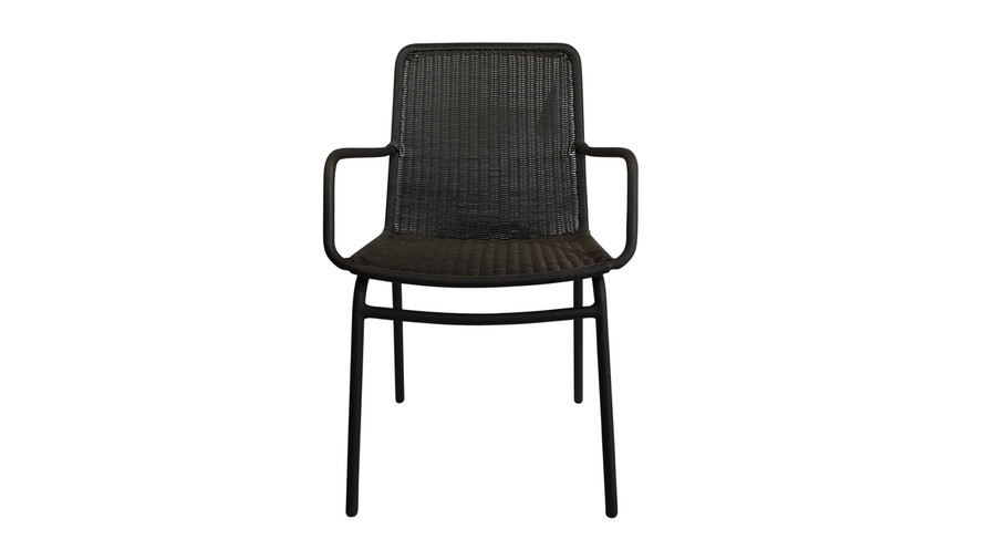 Front view of Felix outdoor dining arm chair in lava