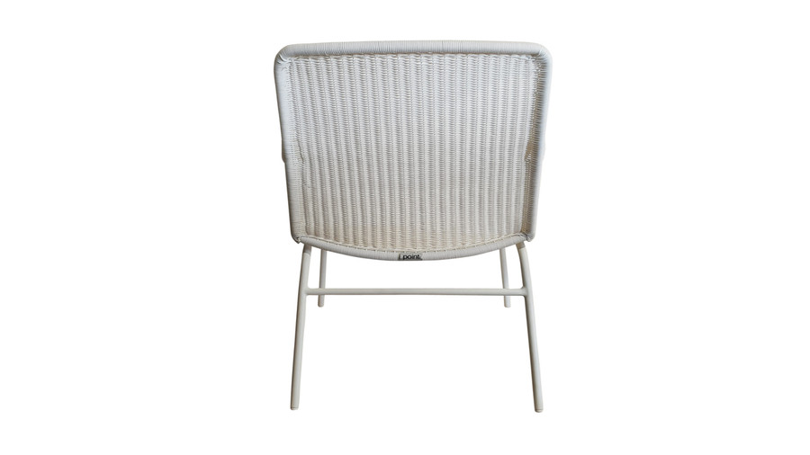 Rear view of Felix outdoor low lounge chair in Stone White finish