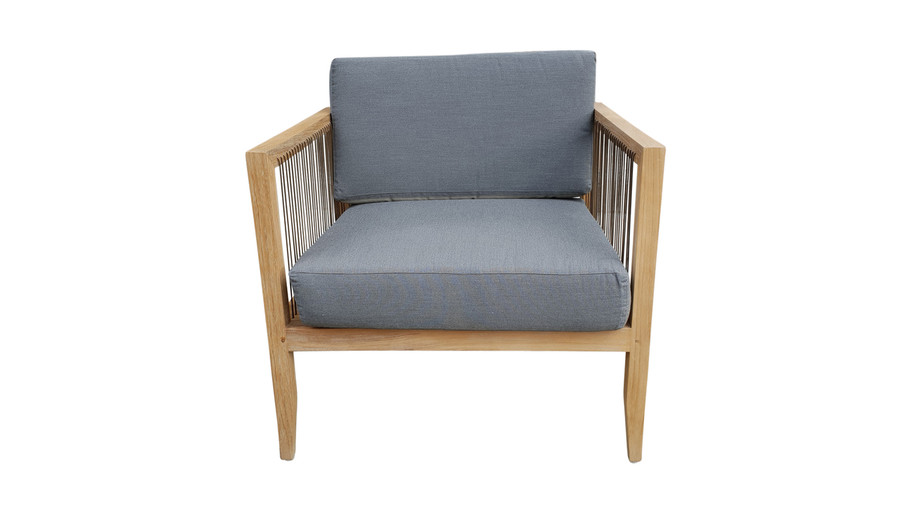 Front view of Astoria low lounge chair in teak wood and synthetic cord