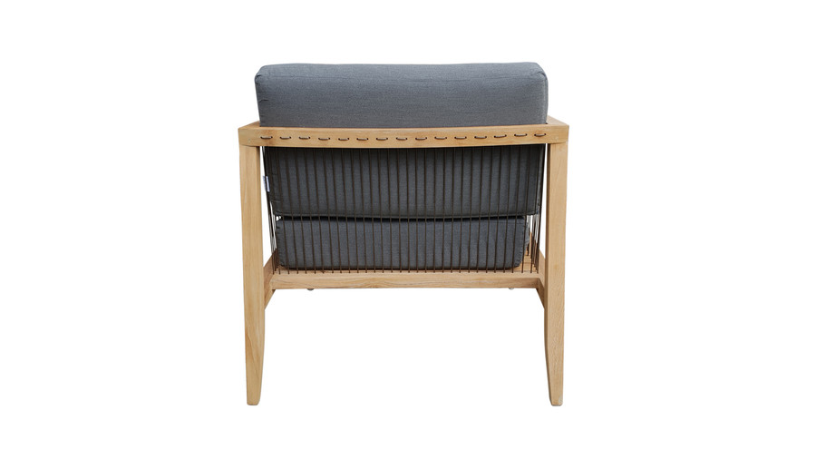 Rear view of Astoria low lounge chair in teak wood and synthetic cord