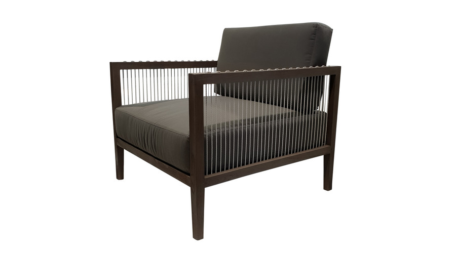 Angled view of Amalfi outdoor low arm chair in teak and cord
