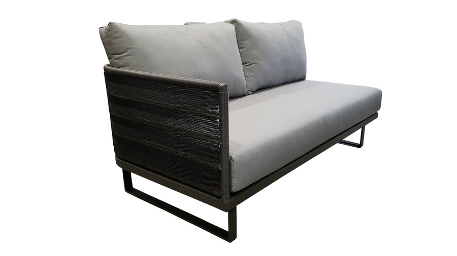 Angled view of right arm Hamptons outdoor sofa