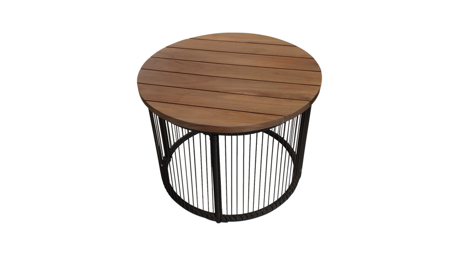 Astoria outdoor side table. Black aluminium frame with teak top and cord.