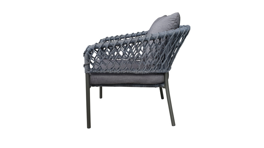 Side view of Cancun Outdoor Rope-effect Cord And Aluminium Armchair