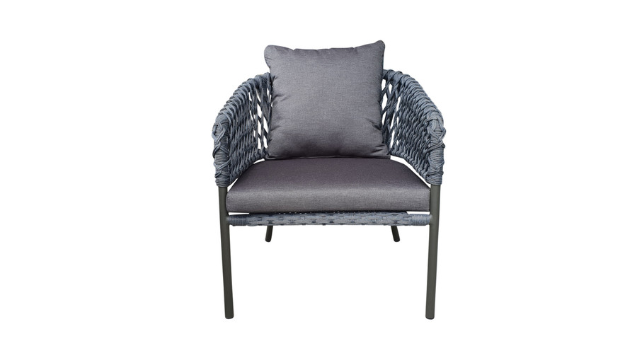 Front view of Cancun Outdoor Rope-effect Cord And Aluminium Armchair