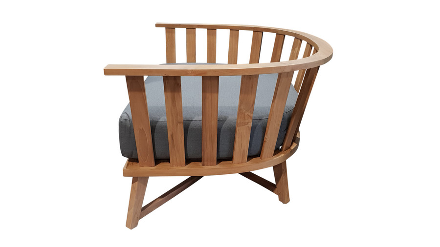 Side view of Ibiza outdoor arm chair teak frame