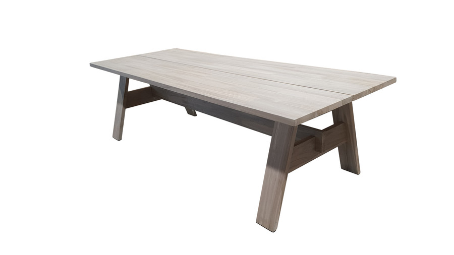 Angle view of Vista outdoor aged teak dining table