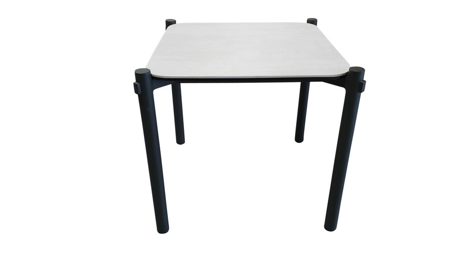 Front view of Cancun ceramic top outdoor aluminium side table